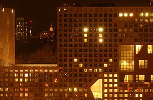 Hacks at the Massachusetts Institute of Technology - Residents of MIT's Simmons Hall collaborated to make a smiley face on the building's facade, December 8, 2002.