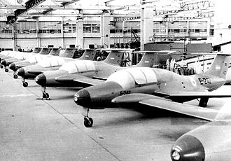 Fábrica Argentina de Aviones - 1960s view of the production line: Morane Saulnier 760