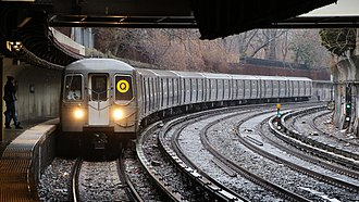 Q (New York City Subway service) - A Q train of R68A cars at Beverley Road