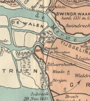 Maasdam - Detail of a 20th-century map of the Grote Hollandse Waard, depicting the geography of Maasdam and surrounding area just before the second St. Elizabeth's flood (1421) which submerged most of the land shown.
