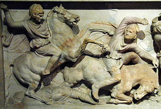 Ancient Macedonian army - Ancient depiction of a Macedonian cavalryman (left). This shows Alexander the Great as a cavalryman. He wears a helmet in the form of the lion-scalp of Herakles. Detail of the so-called Alexander Sarcophagus, excavated at Sidon.
