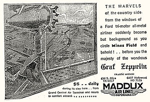 Maddux Air Lines - Advertisement for airplane rides from Grand Central Air Terminal to see the Graf Zeppelin then visiting Los Angeles (August, 1929)