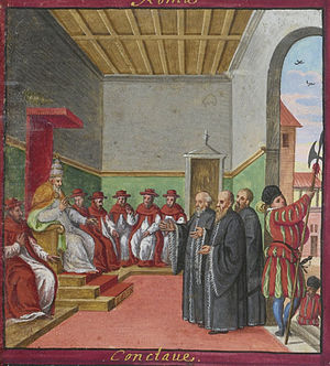 Pontifical Swiss Guard - Conclave of Pius V, with Swiss Guard guarding the entrance (Codex Maggi, 1578)