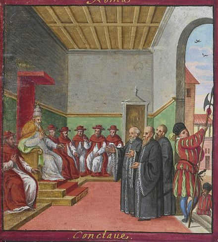 Conclave of Pius V, with Swiss Guard guarding the entrance (Codex Maggi, 1578) Magius Voyages et aventures detail 09 03.jpg