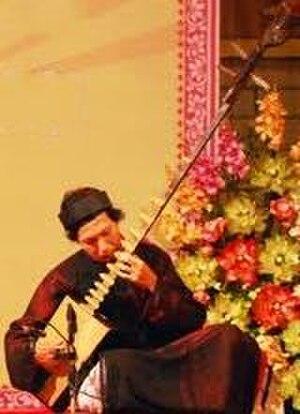 Traditional Vietnamese musical instruments - Image: Man playing a đàn đáy