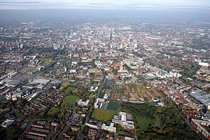 Manchester city centre - Image: Manchester from the Sky, 2008