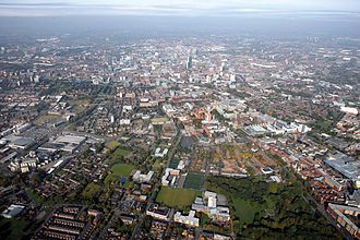 Manchester - Aerial view of Manchester city centre from the south in 2008.