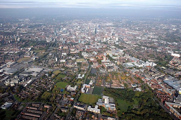 Aerial view of Manchester city centre from the south in 2008. Manchester from the Sky, 2008.jpg