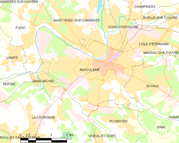 Map of the commune of Angoulême