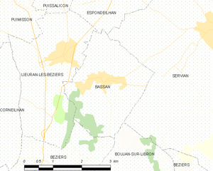 Bassan - Image: Map commune FR insee code 34025