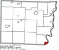 Map of Belmont County Ohio Highlighting Powhatan Point Village.png