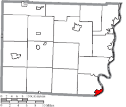 Location of Powhatan Point in Belmont County