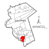 Map of Dauphin County, Pennsylvania highlighting Lower Swatara Township