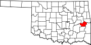 Map of Oklahoma highlighting Haskell County.svg