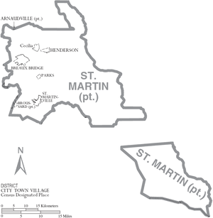St. Martin Parish, Louisiana - Map of St. Martin Parish, Louisiana With Municipal Labels