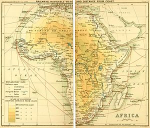 The Statesman's Yearbook - Railway map of Africa, including tracks proposed and under construction, The Statesman's Yearbook, 1899.