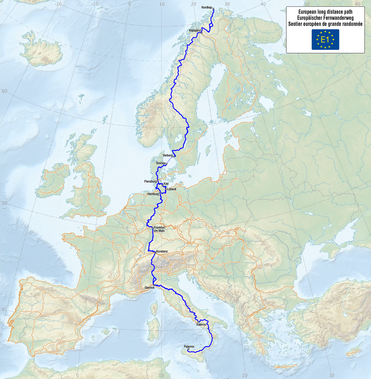 E1 European long distance path - Wikipedia on map of europe galicia, map of europe kiev, map of europe naples, map of europe wittenberg, map of europe germany, map of europe ireland, map of europe helsinki, map of europe athens, map of europe verdun, map of europe malta, map of europe belgrade, map of europe suez canal, map of europe heidelberg, map of europe alsace, map of europe reykjavik, map of europe york, map of europe silesia, map of europe luxembourg, map of europe zagreb, map of europe genoa,