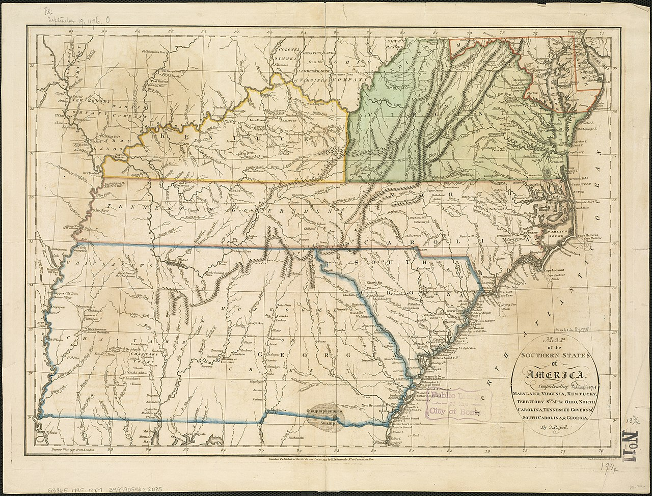 File:map Of The Southern States Of America,prehending Maryland,  Virginia, Kentucky, Territory Sth Of The Ohio, North Carolina, Tennessee  Governmt,