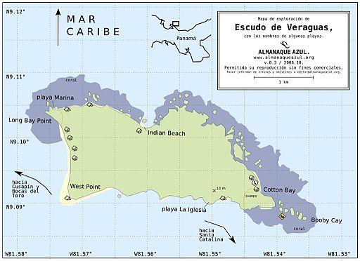 Mapa Isla Escudo de Veraguas La Mochila