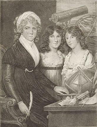 Margaret Bryan (philosopher) - Engraving of Bryan and children