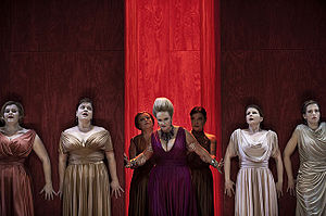 Elektra (opera) - Marianne Eklöf as Klytaemnestra (center) in Elektra. Royal Swedish Opera production in 2009.