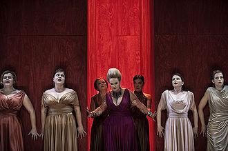 Elektra (opera) - Marianne Eklöf as Klytaemnestra (center) in Elektra. Royal Swedish Opera production in 2009.