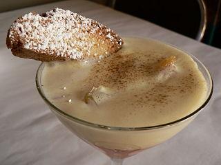 Zabaione Italian dessert made with egg, sugar, and wine