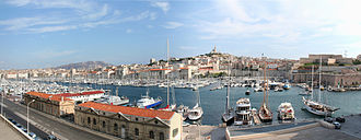 Old Port of Marseille - The Old Port and the Basilica of Notre-Dame de la Garde (background, on the hill)
