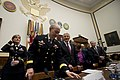 Martin E. Dempsey and Chuck Hagel arrive to testify before the House Armed Services Committee on the fiscal year 2014 National Defense Authorization Budget Request.jpg