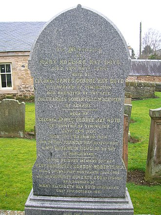 Symington, South Ayrshire - Gravestone of Mary Hay Boyd of Townend in Symington Churchyard.
