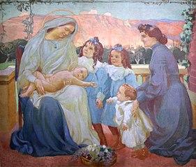 Portrait of Madame de la Laurencie and children