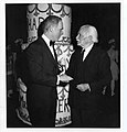 Mayor Kevin H. White and Arthur Fiedler at Fiedler Birthday (6789867129).jpg