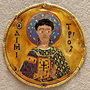 "Cloisonné - Byzantine cloisonné enamel plaque of St. Demetrios, c. 1100, using the senkschmelz or ""sunk"" technique and the new thin-wire technique."