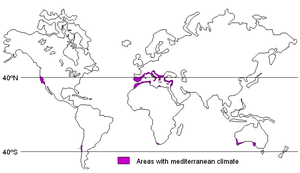 Areas with Mediterranean climate