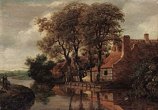 A Farmyard, behind some trees on the banks of a brook