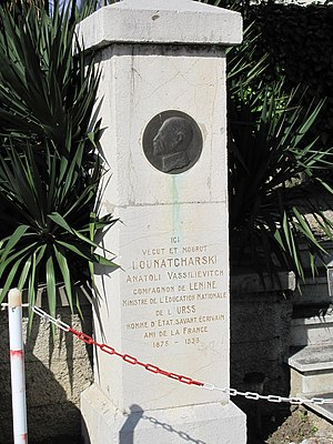 Anatoly Lunacharsky - A monument to Lunacharsky in Menton.