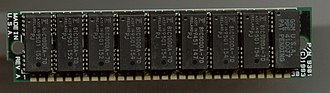 Memory latency - 1 megabit drams with 70 ns latency on a 30-pin SIMM module. Modern DDR4 DIMMs have hundreds of times more bandwidth but similar latencies.