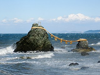 couple of small rocky stacks in the sea off Futami, Mie, Japan