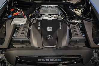 Mercedes-AMG GT - M178 V8 in a GT. The turbochargers are visible in the centre, beneath a metallic heat shield