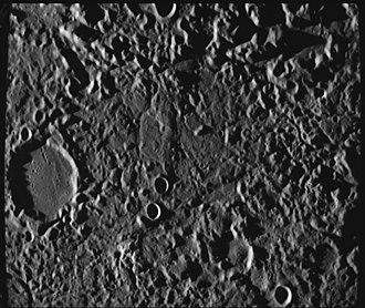 Caloris Planitia - Close up of the chaotic terrain.