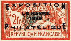 Overprint - France, 1929: Commemorative overprint for the Philatelic Exposition in Le Havre.