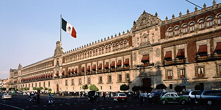 Former Viceregal Palace and seat of the Audiencia of Mexico, since independence in 1821, the National Palace.