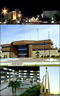 Images frae top, left tae richt: Mexicali at nicht, UABC Mexicali campus, UABC Engineering Faculty, Civic Centre Monument