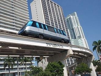 Metromover - Outer Loop Metromover train departing Bayfront Park in Downtown on Biscayne Boulevard