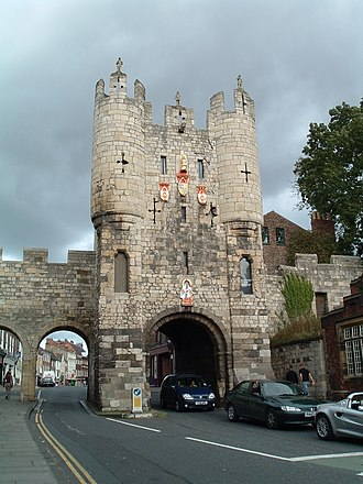 Micklegate Bar after restoration, showing lowered walls and removed barbican Micklegate Bar.jpg