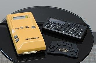 Microwriter - A MicroWriter, MicroWriter AgendA, and its modern successor the CyKey.