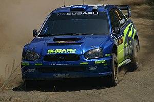 Mikko Hirvonen - Hirvonen with a Subaru Impreza WRC at the 2004 Cyprus Rally.