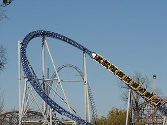 Millennium Force - The yellow train in the second overbanked turn on the island