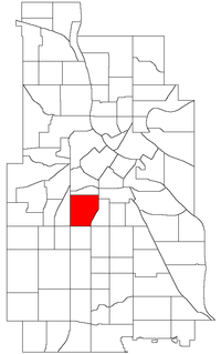 Location of Whittier within the U.S. city of Minneapolis