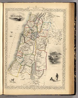 """John Tallis - Map of """"Palestine"""" in 1851, showing the Kaza subdivisions. At the time, the region shown was split between the Sidon Eyalet and the Damascus Eyalet"""